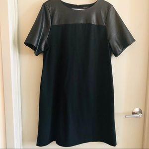 Ann Taylor ponte knit faux leather dress